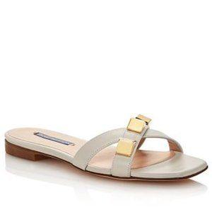 Stuart Weitzman Cross Studded Flat Sandals NWT